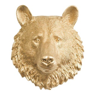 Wall Charmers Faux Gold Mini Bear Head Wall Sculpture For Sale