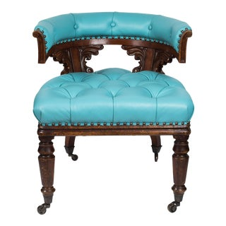 Antique William IV Chair in Mahogany and Turquoise Leather For Sale