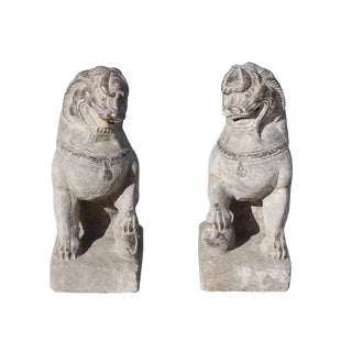 Chinese Small Pair Distressed Gray Stone Fengshui Foo Dog Statues For Sale