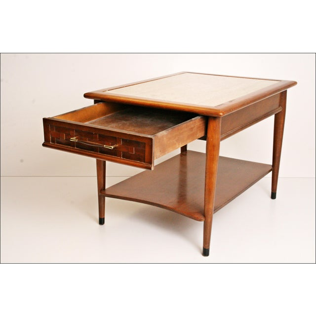 Danish Modern Wood Stone Top End Tables - Pair - Image 5 of 11