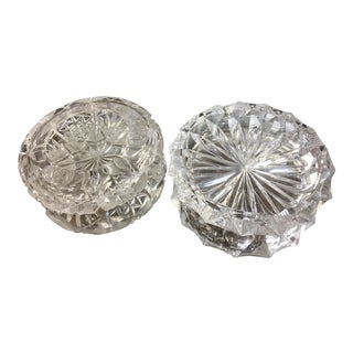 Cut Crystal Ashtrays - Set of 2 For Sale