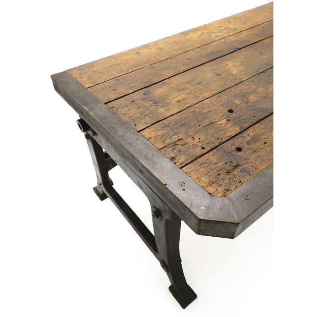 Industrial Iron and Wood Worktable From France - Image 7 of 8