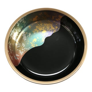 1980s Vintage Japanese Art Deco Gold Leaf Abstract Lacquered Bowl For Sale