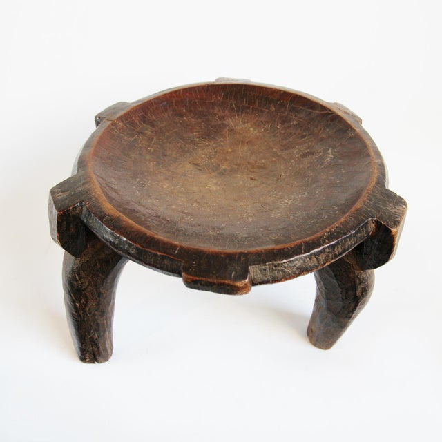 Tanzania Hehe tribal wood carved stool or bowl. This rustic piece makes a great accent stool, low side table, or unique...