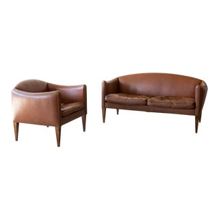 Illum Wikkelso Settee and Armchair in Chocolate Leather and Rosewood, Denmark, 1960s