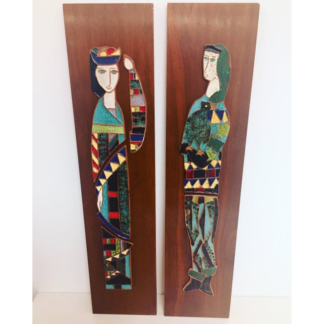 Blue Harlequin Figure Tile Plaques - A Pair For Sale - Image 8 of 8