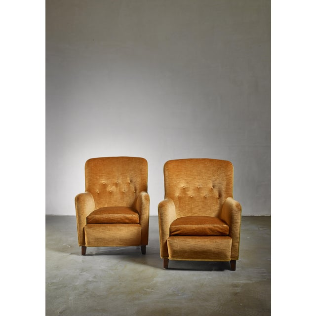 Danish Modern Pair of Easy Chairs by Birte Iversen, Denmark 1940s For Sale - Image 3 of 5