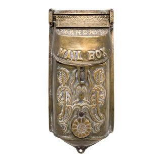 20th Century Art Nouveau Brass Mail Box / Letter Holder For Sale