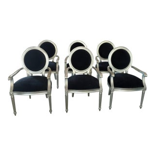 Bernhardt Louis Silverleaf Finish Arm Chairs - Set of 6 For Sale