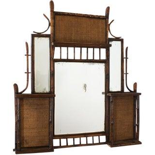 19th Century Tortoise Bamboo Mirror & Shelf For Sale