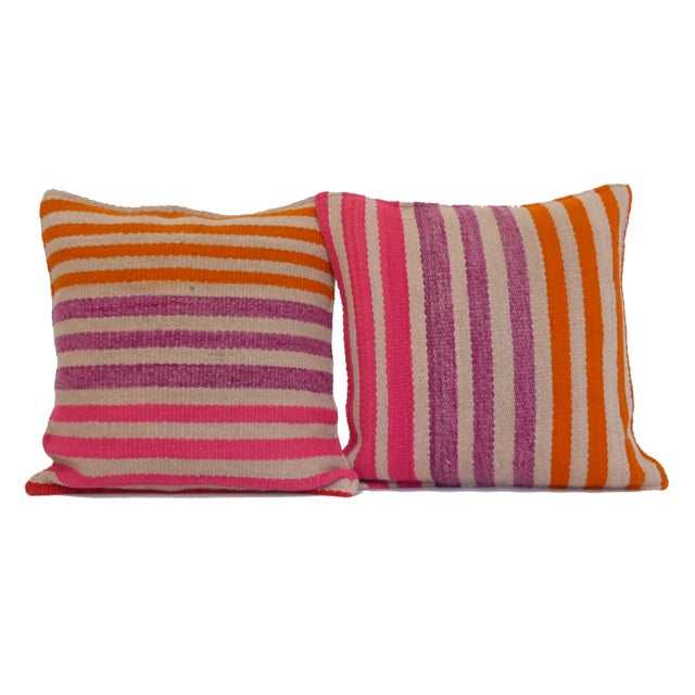 Boho Chic Peruvian Frazada Pillow Pair For Sale - Image 3 of 3