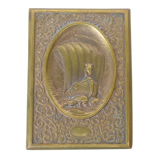 Vintage Small Brass Wall Plaque For Sale