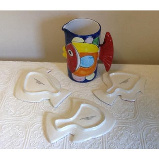 Italian La Musa Pottery Fish Pitcher & Ceramic Fish Plates - Set of 4 Preview