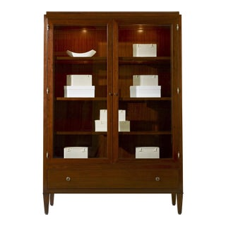 Barbara Barry for Henredon Modern Mahogany Finished Wood Ascot China Cabinet/Display Cabinet For Sale