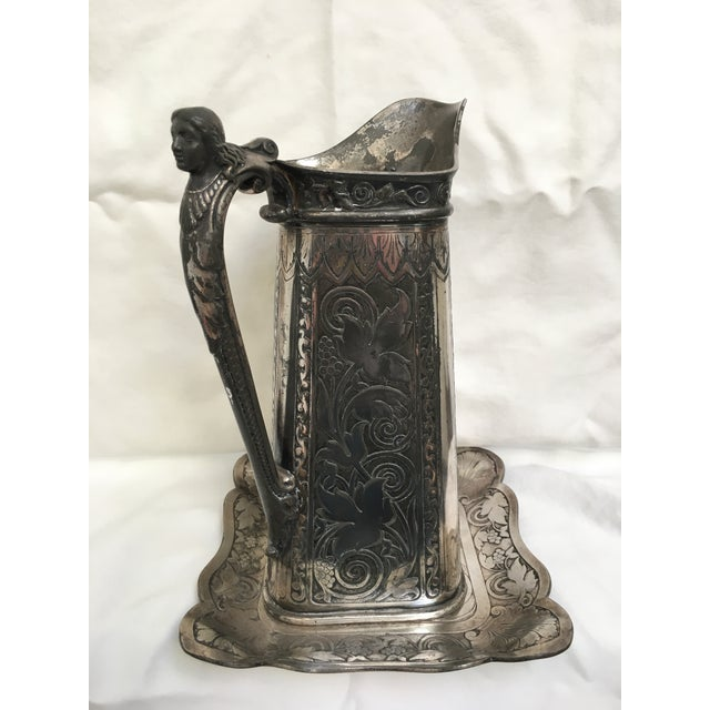Late 19th Century Antique James Tufts Silver Plate Pitcher & Tray For Sale - Image 13 of 13