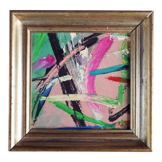 Small Pink & Green Abstract Painting For Sale