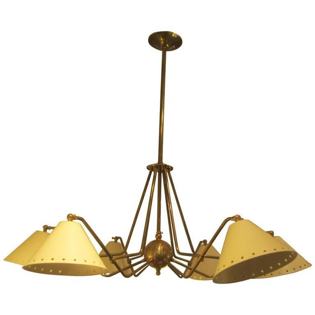 Brass Custom Six-Light Brass and Tole Fixture in the Mid-Century Manner For Sale - Image 7 of 7
