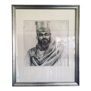 Early 20th Century Charcoal on Paper Portrait Study For Sale