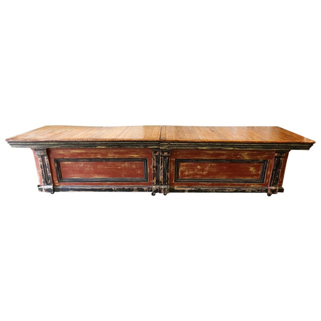 Large Vintage Wood Counter - Image 1 of 7