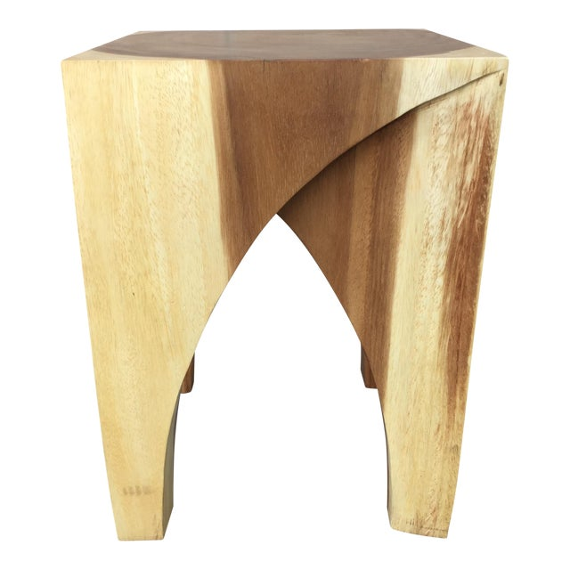 Boho Chic Chiang Mai Curve Stool or End Table For Sale