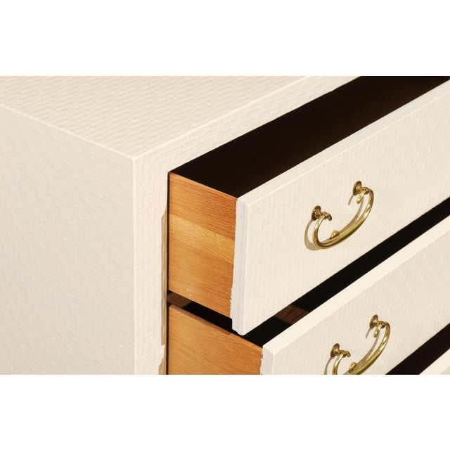 White Fabulous Restored Pair of Cream Raffia Chests by Baker, Circa 1975 For Sale - Image 8 of 13