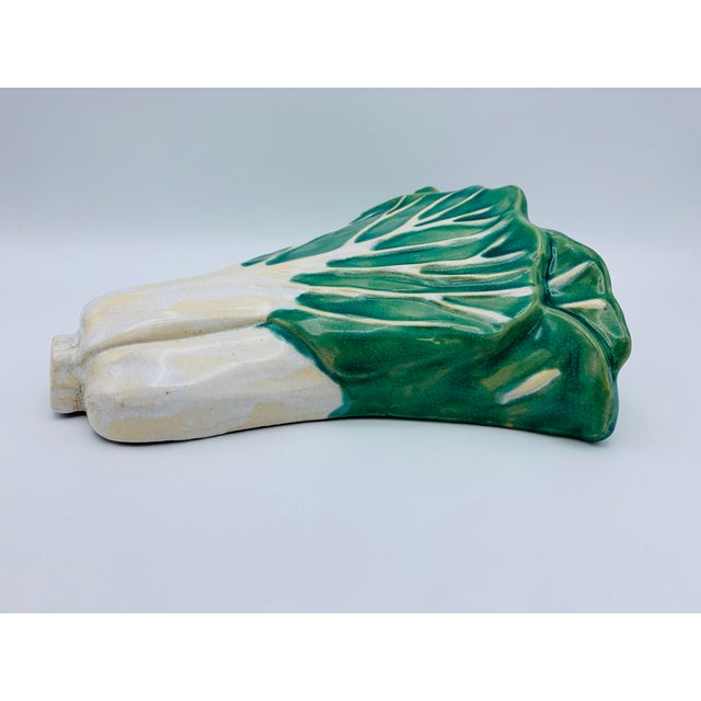 1960s Vintage Green and White Ceramic Bok-Choy Wall Pocket For Sale In Richmond - Image 6 of 11