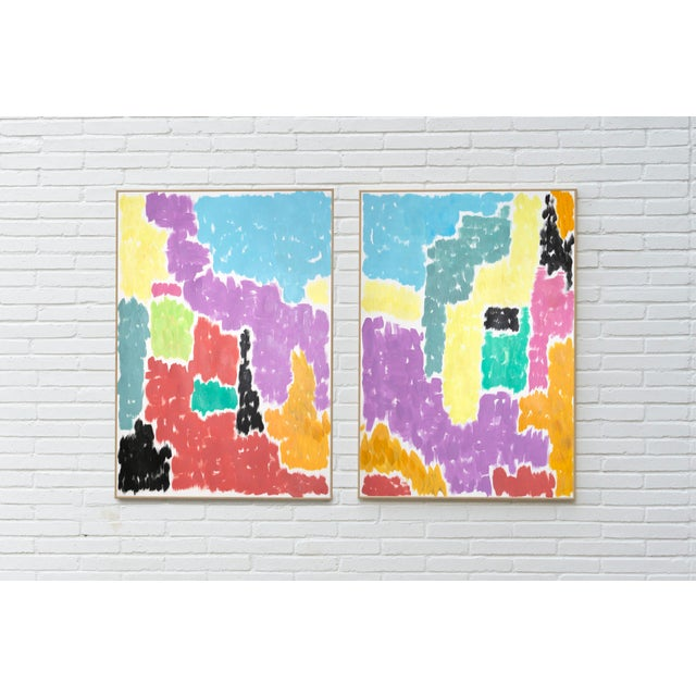 """""""Leaving the City"""" is an abstract painting by Spanish artist Natalia Roman. It is a beautiful abstract architectural..."""