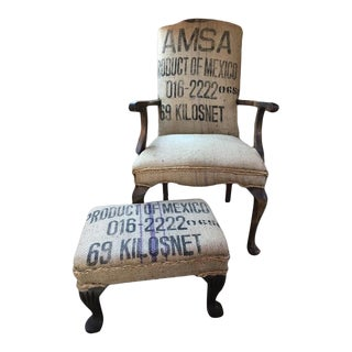 1990s Vintage Early American Chippendale Style Burlap Arm Chair and Ottoman For Sale