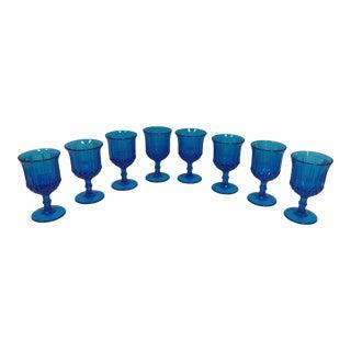 Vintage Turquoise Blue Vaseline Glass Water Goblets - Set of 8 For Sale