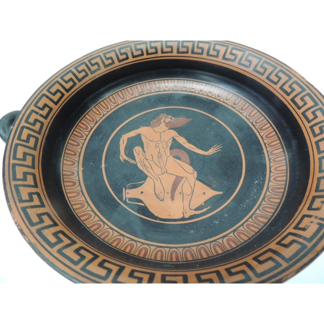 1980s Vintage Encaustic Hand Painted Greek Terracotta Centerpiece With Handles For Sale - Image 5 of 7