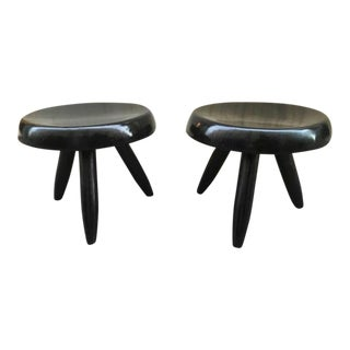 Charlotte Perriand Rare Genuine Pair of Black Tripod Stools