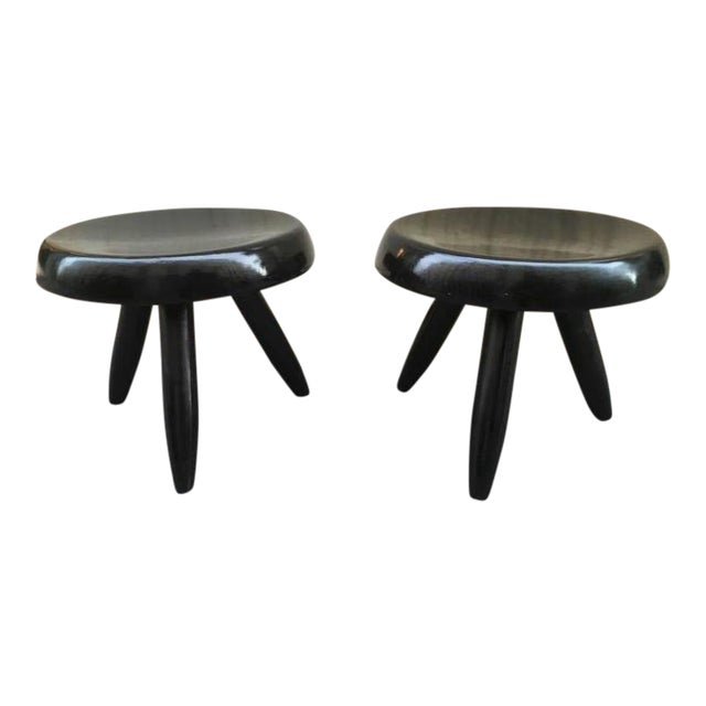 Charlotte Perriand Rare Genuine Pair of Black Tripod Stools For Sale