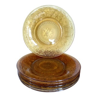 Set of Six Mid-Century Depression Glass Plates For Sale