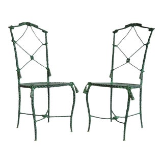 1960s Vintage Italian Hollywood Regency Rope and Tassel Green Patinated Iron Side Chairs- A Pair For Sale