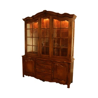 Ethan Allen Country French Breakfront China Cabinet For Sale