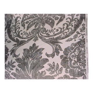 Scalamandre Lucianna Damask Graphite Linen Print Upholstery Fabric- 3 1/8 Yards For Sale