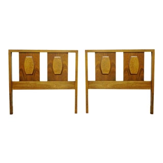 Vintage Mid-Century American Modern Walnut Single/ Twin Bed Headboards - a Pair
