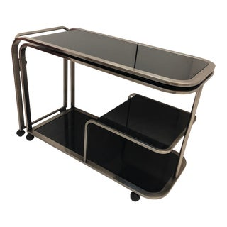 Design Instiute of America Chrome & Black Glass Cart For Sale