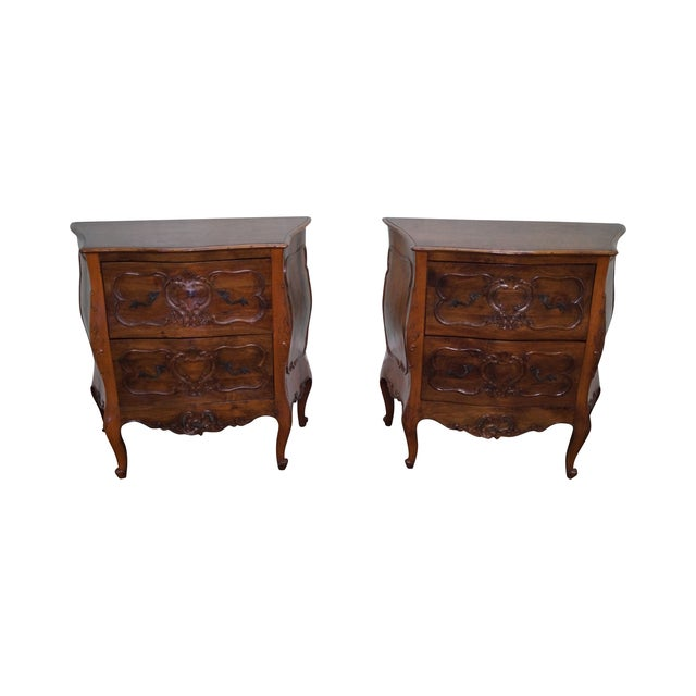 Vintage Carved Italian Bombe Chests - Pair For Sale