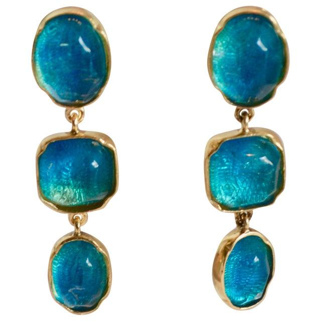 Glass Goossens Paris Triple Drop Tinted Rock Crystal Clip Earrings For Sale - Image 7 of 7