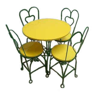 Antique Green Bent Wire Yellow Bistro Dining Set For Sale
