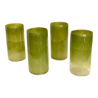 Hand Made Green Glassware - Set of 4 For Sale