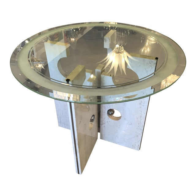 Vintage Modern Marble and Chrome Center or Dining Table For Sale - Image 14 of 14