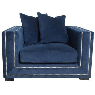 Pasargad Navy Velvet Armchair & Pillows For Sale