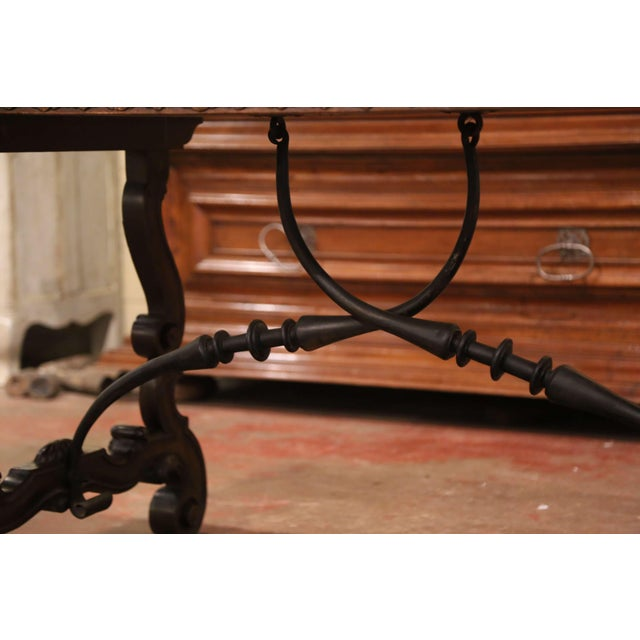 19th Century Spanish Carved Walnut and Wrought Iron Console Center Table For Sale - Image 12 of 13