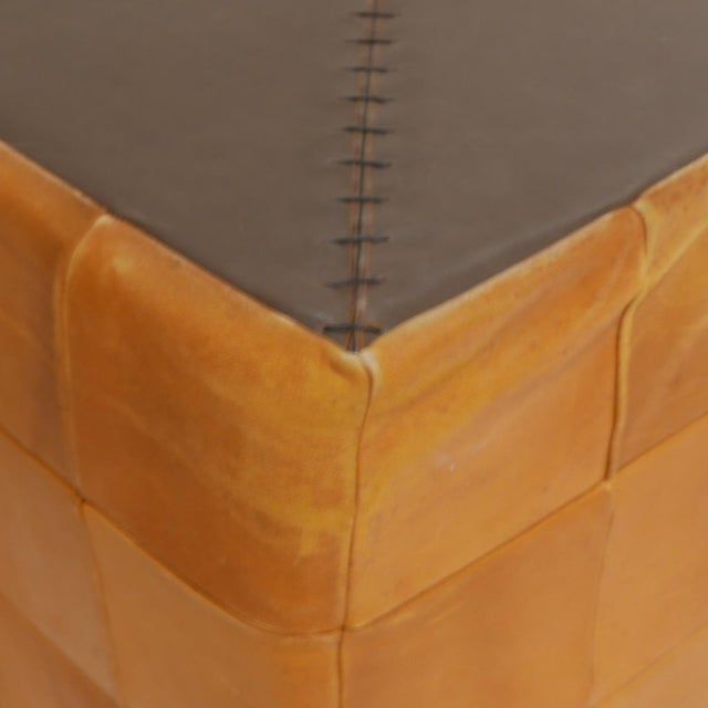 1960s De Sede Patchwork Cube or Ottoman in Beautiful Patinated Cognac Leather For Sale - Image 5 of 7
