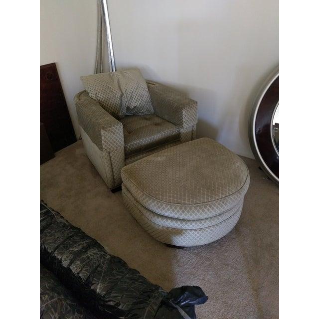 Henredon Aubergine Park Central Chair & Ottoman - Image 3 of 8