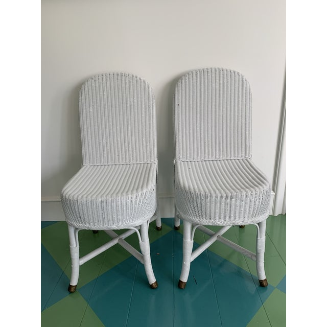 White Vintage Lloyd Loom English Wicker Chairs - a Pair For Sale - Image 8 of 8