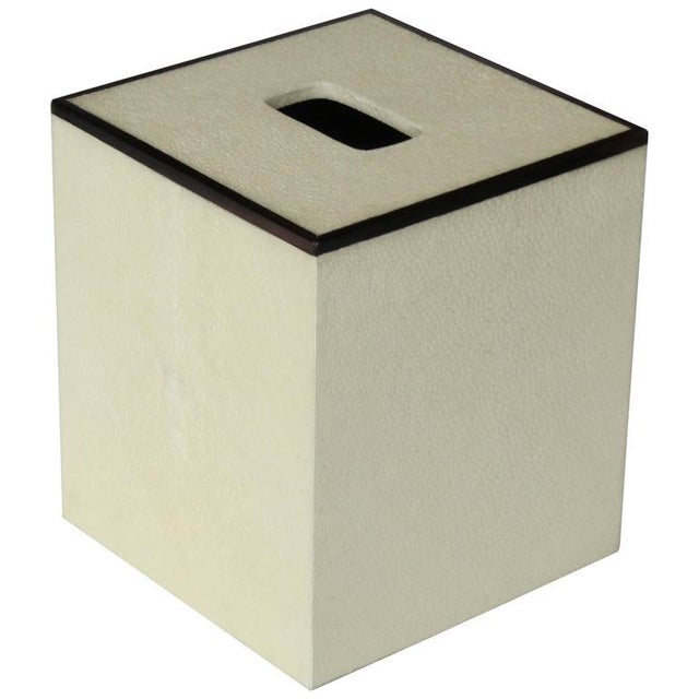 Modern Ivory Shagreen Tissue Box For Sale - Image 3 of 3