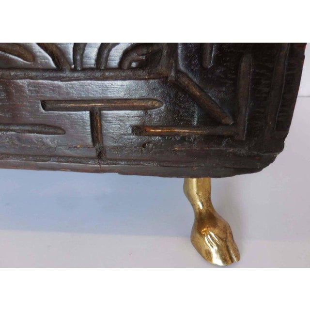 Bronze Hand-Carved African Bamileke Child's Bed, Bench, or Coffee Table For Sale - Image 7 of 10